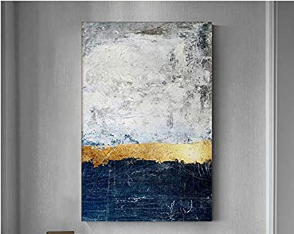 Abstract Metallic Dark Blue Gold Foil White Canvas Paintings Modern Home Decor Large Wall Art Pictures Handmade Textured Oil Paintings For Living Room
