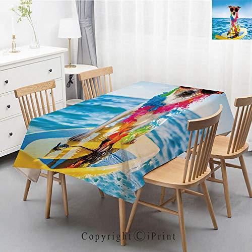Coa Silver Proof - Print Series Rectangle Tablecloth Cotton and Linen Dust proof Absorption Table Cover for Photography Background Dining,55x102 Inch,Ride The Wave,Dog in the Ocean Surfing Cool Puppy Swimming Comic Coas