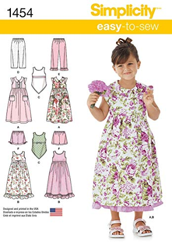 Simplicity 1454 Easy to Sew Girls Dress, Slip Dress or Top and Pants or Shorts Sewing Patterns, Sizes 3-8
