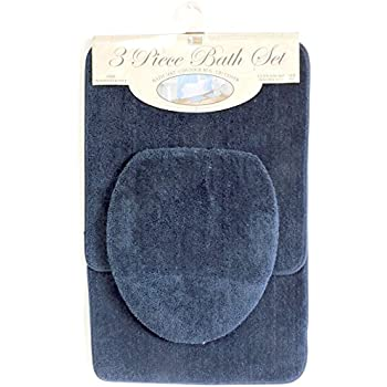 3 Piece Bath Rug Set Navy Blue Bathroom Mat Contour Rug Lid Cover Non Slip Latex Bottom
