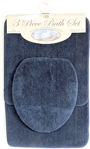 3 Piece Bath Rug Set Navy Blue Bathroom Mat Contour Rug Lid Cover Non Slip  Latex