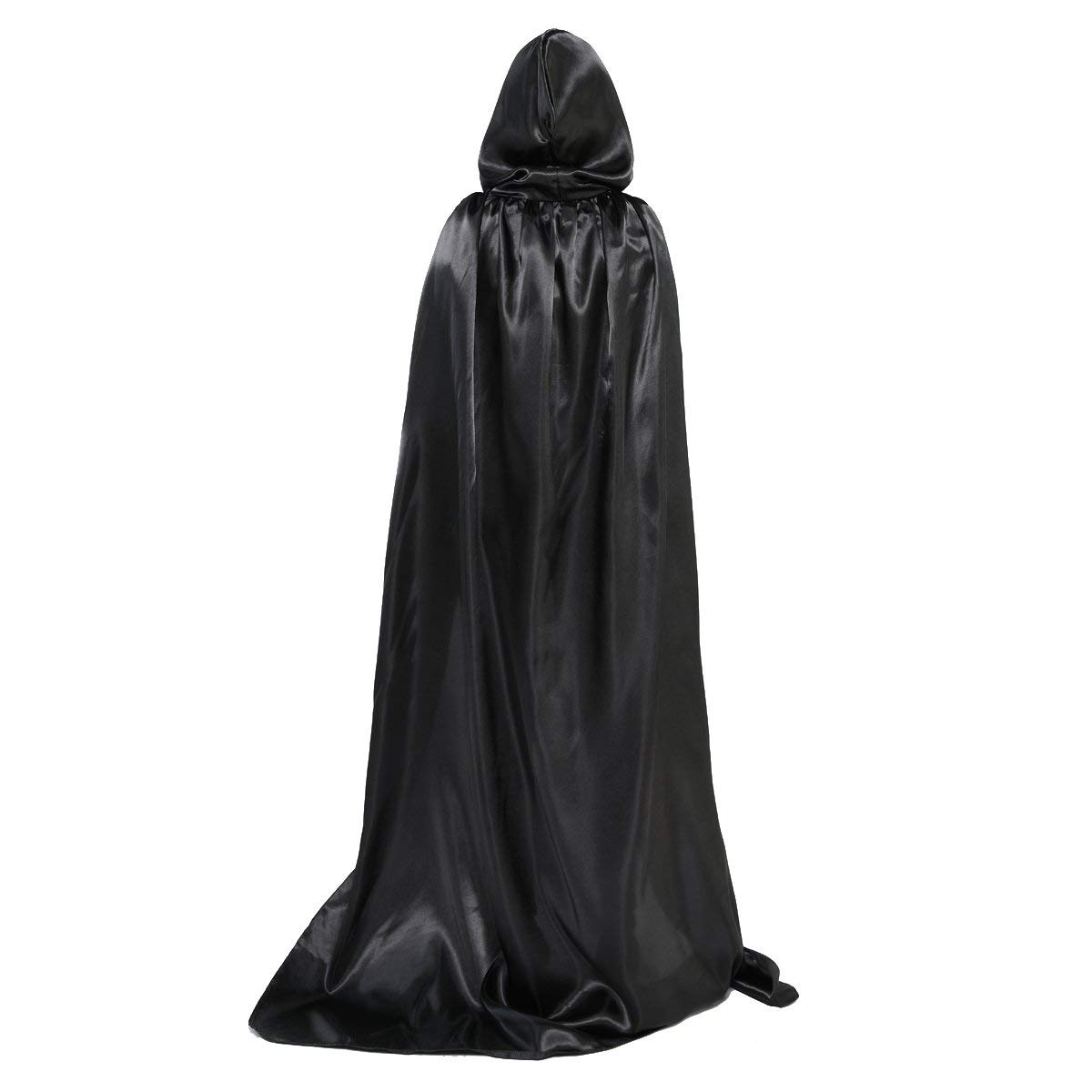 OLABB Hooded Cape Cloak with Hood Black Cloaks Costume Cosplay Party Role Play for Women/Men