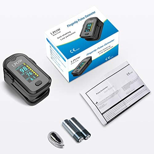 Pulse Oximeter Fingertip, Blood Oxygen Saturation Monitor for Pulse Rate, Heart Rate Monitor and SpO2 Levels with LED Screen Display Batteries and Lanyard Included 51OSN0nWnvL
