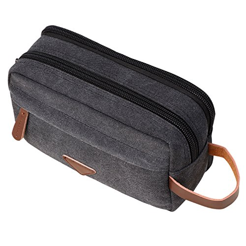 Bag Canvas Leather Cosmetic Makeup Organizer Shaving Dopp Kits with Double Compartments (Black) (Double Compartment Travel Bag)