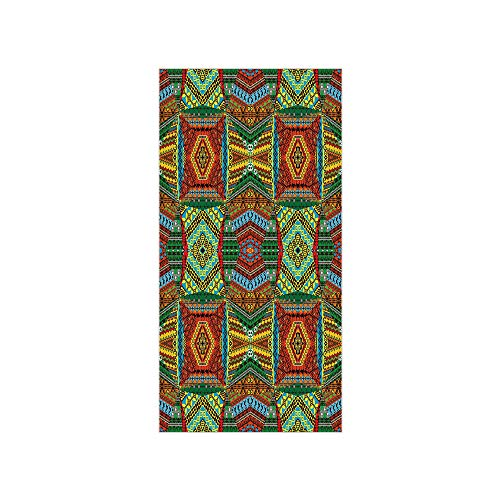 (3D Decorative Film Privacy Window Film No Glue,African,Collage of Ethnic Native Motifs Ancient Art Traditional Old Fashioned Cultural Decorative,Multicolor,for Home&Office)