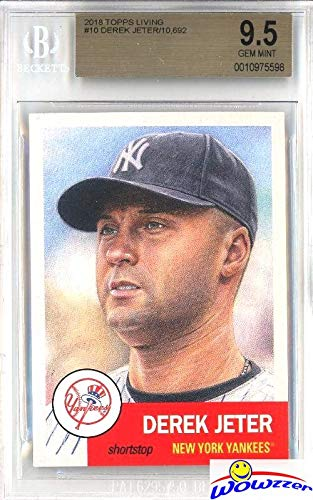 DEREK JETER 2018 Topps Living Set #10 New York Yankees Graded SUPER HIGH BGS 9.5 GEM MINT! 1953 Topps Style SOLD OUT Limited Edition Super High Grade Card of Yankees Future Hall of Famer! WOWZZER!