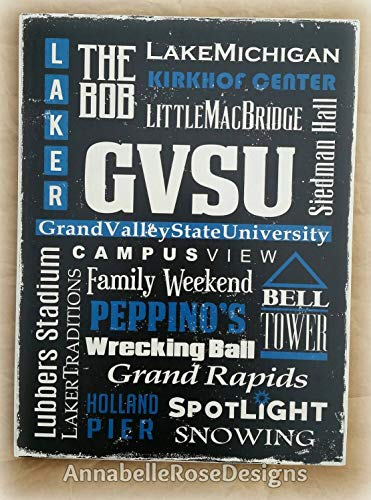 DASON GVSU Grand Valley State University Word Art Michigan Streets Attractions Graduation Vintage Look Distressed Rustic Sign on Wood