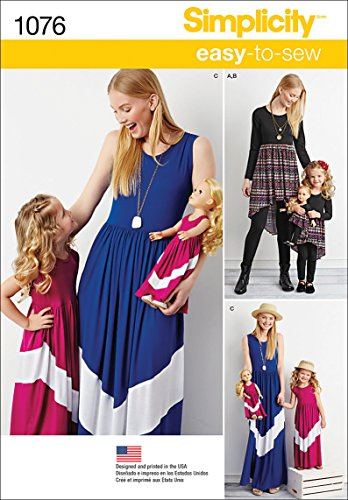 Simplicity 1076 Girl's, 18'' Doll's, and Women's Maxi Dress Sewing Pattern, Sizes 3-8 and XS-XL
