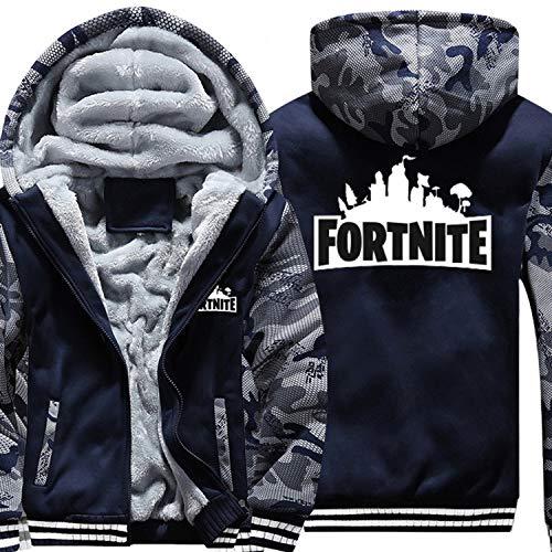 (nikifly Warm Fortnite Hoodies Sweatshirts Men Thick Fleece Camouflage Jackets Clothes Zipup Adult Coats,Camo Blue,L)