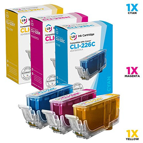 LD Compatible Ink Cartridge Replacements for Canon CLI-226 (1 Cyan, 1 Magenta, 1 Yellow, 3-Pack) ()