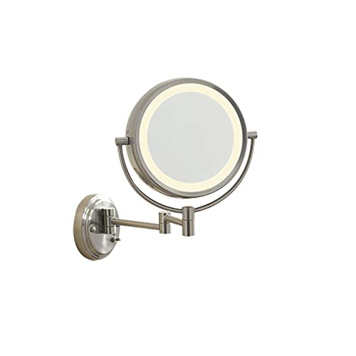 Conair BE6WMX Lighted 7X Brushed Nickel Wall Mount Fluorescent Hotel Makeup Mirror