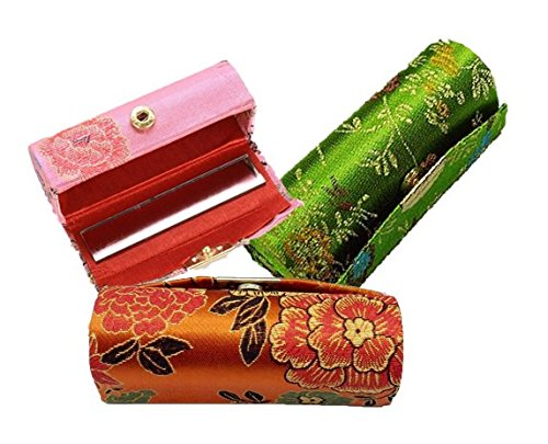 6goodeals Lipstick Case MULTI-SET Silky Satin Fabric Cosmetic Case with Mirror, Various Design ~ USA SELLER!! (3)