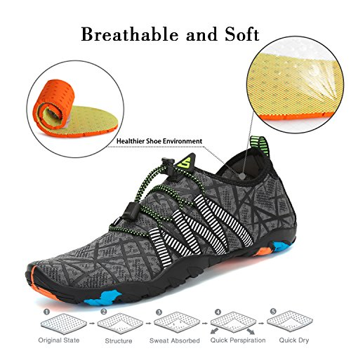 On Women Sarga Yoga Unisex Men Sand Drying Water Skin Shoes Aqua Beach Swimming Shoe Sports Socks Gray Pool Quick SAGUARO Barefoot Slip ZX1wqg6