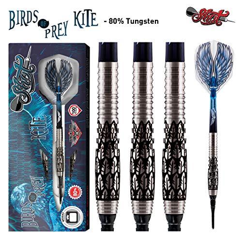 Shot! Darts Birds of Prey Kite Soft Tip Dart Set-Front Weighted 80% Tungsten Barrels 20gm (Best Bird Of Prey)