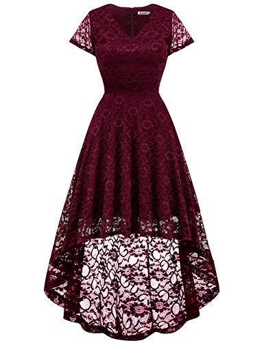 (Bbonlinedress Women's Floral Lace Hi-Lo Cap Sleeve Formal Cocktail Party Dresses Burgundy)