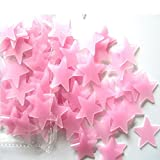 AIMTOPPY 100PC Kids Bedroom Fluorescent Glow In The Dark Stars Wall Stickers (pink)