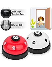 SlowTon Pet Doorbells, 2 Pack Metal Bell Dog Training with Non Skid Rubber Bottoms Puppy Door Bell for Potty Training and Communication Device with Clear Ring Paw Size Button for Small Doggie Cats
