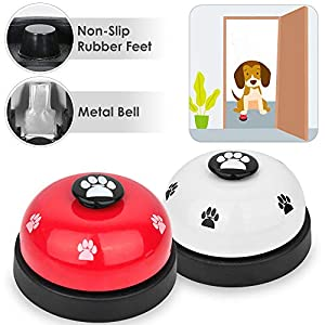 SlowTon Pet Doorbells, 2 Pack Metal Bell Dog Training with Non Skid Rubber Bottoms Puppy Door Bell for Potty Training and Communication Device with Clear Ring Paw Size Button for Small Doggie Cats 11
