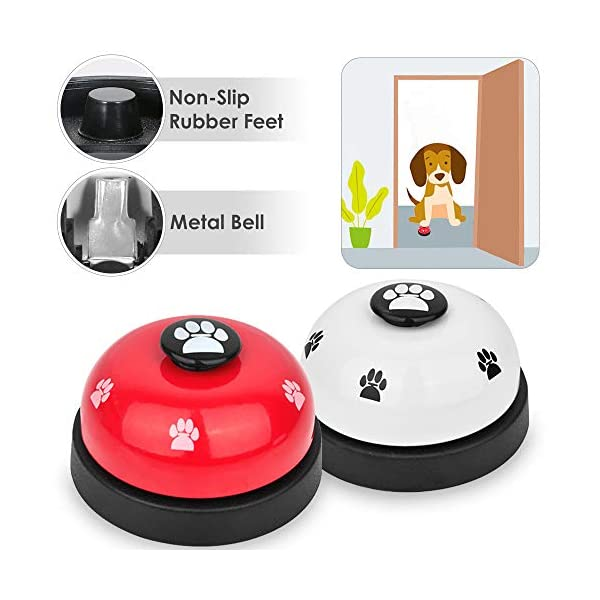 SlowTon Pet Doorbells, 2 Pack Metal Bell Dog Training with Non Skid Rubber Bottoms Puppy Door Bell for Potty Training and Communication Device with Clear Ring Paw Size Button for Small Doggie Cats 1