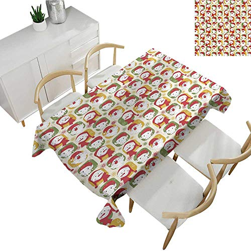 """Warm Family Christmas Fabric Dust-Proof Table Cover Cheerful Faces of The New Year Santa Claus Snowman and Elves in Red Party Hats 60"""" Wx102 L Multicolor"""