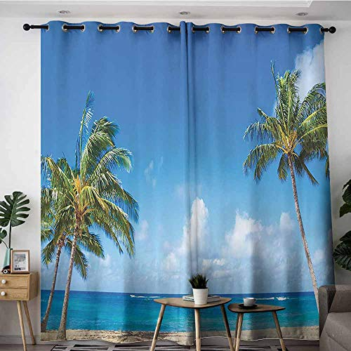 Extra Wide Patio Door Curtain,Hawaiian Decorations Collection Windy Exotic Island with Tropical Trees Calm Beachy Theme Ocean Photography Print,Darkening Thermal Insulated Blackout,W120x96L,Green Blu