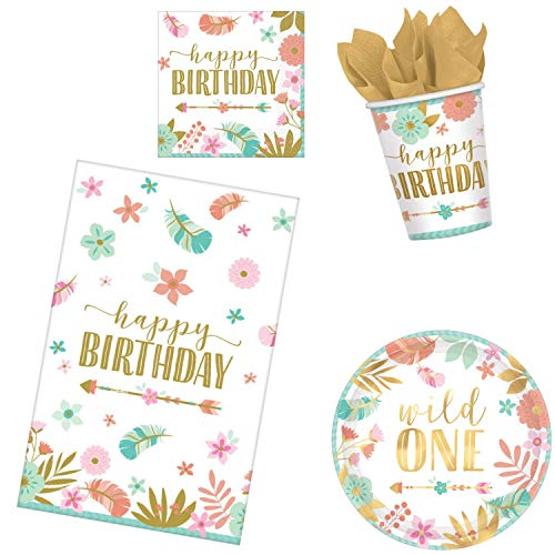 1st Birthday Party Supplies Bundle for 16 Guests | Baby Girl Boho Wild One Theme | 50 Piece Set Includes: Plates, Napkins, Cups, Table Cover & Party Planning eBook (Basic) ()