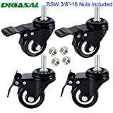 DICASAL 4 Pack 1.5 inch Swivel Stem Casters, Non-Marking Polyurethane wheels 330 lbs with 3/8''- 16 x 1 Threaded Stem and Nuts for Carts Trolley Furniture