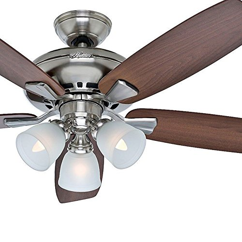 Hunter Fan 52 inch Brushed Nickel Finish with Medium Reversible Blades and Remote Control Renewed