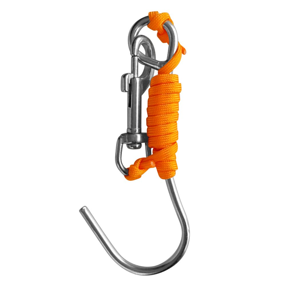 Baoblaze Underwater Scuba Diving Reef Drift Hook with 47 Line and Stainless Steel Bolt Snap