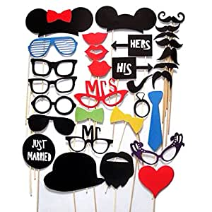 DIY New Brand Set of 31 Pcs Props Masks On A Stick Mustache Photo Booth Party Fun Wedding Christmas Birthday