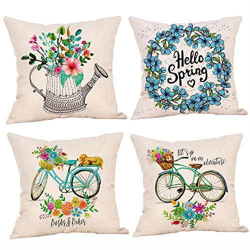 Spring Pillow Covers 18 x 18 Inches Set of 4 - Spring Series Cushion Cover Case Pillow Custom Zippered Square Pillowcase (8 Spring)