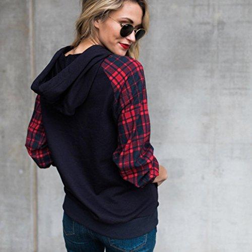 Casual Tops Donna Plaid Cappuccio T Pullover Autunno Blu Shirt Felpa Camicie Lunghe Maniche ABCone Elegante con Camicette gqZ6Ww