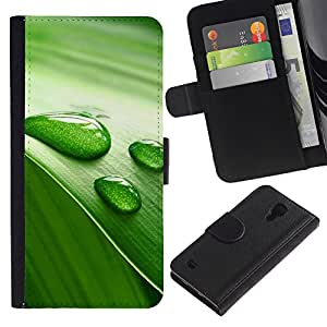 KingStore / Leather Etui en cuir / Samsung Galaxy S4 IV I9500 / Vida Verde Hoja Naturaleza Agua