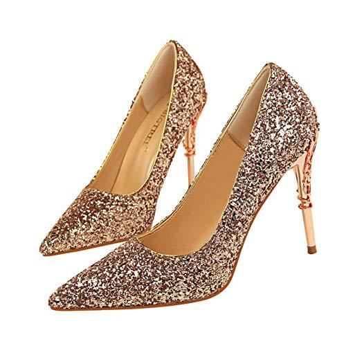Sexy Hauts Talons Cm Paillette Mariage Ai Décoration 5 Champagne Ya 9 liangxie De Marque Heels Chaussures Sculpture D'or La Metal Sandale Femmes dxBreCo