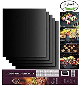 Aoocan Grill Mat Set of 5- 100% Non-stick BBQ Grill & Baking Mats - FDA-Approved, PFOA Free, Reusable and Easy to Clean - Works on Gas, Charcoal, Electric Grill and More - 15.75 x 13 Inch