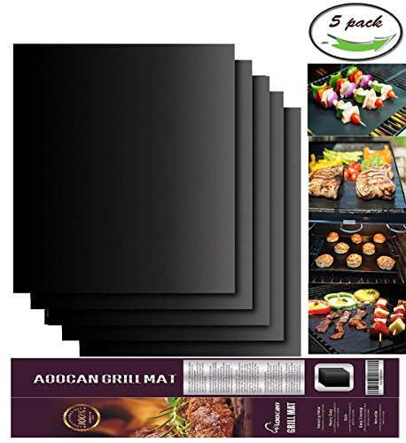 Aoocan Grill Mat Set of 5-100% Non-stick BBQ Grill & Baking Mats - FDA-Approved, PFOA Free, Reusable and Easy to Clean - Works on Gas, Charcoal, Electric Grill and More - 15.75 x 13 Inch (Grilling Barbecue)