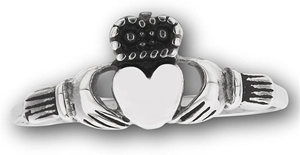 Oxidized Claddagh Heart Crown Hands Ring New Stainless Steel Band Sizes 7-12