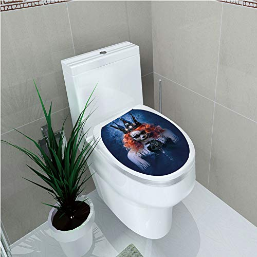 Toilet Cover Sticker 3D Printing,Queen,Queen of Death Scary Body Art Halloween Evil Face Bizarre Make Up Zombie,Navy Blue Orange Black,for You Design,W12.6