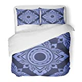 SanChic Duvet Cover Set Asian Ornate Floral Endless Pattern Flowers Fills Thai Flourish Decorative Bedding Set Pillow Sham Twin Size
