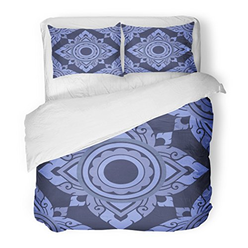 SanChic Duvet Cover Set Asian Ornate Floral Endless Pattern with Flowers Fills Thai Decorative Bedding Set with Pillow Sham Twin Size by SanChic