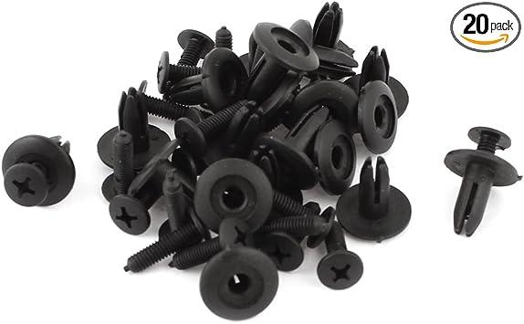 uxcell 20 Pcs Black Plastic Rivets Retainer Clip Car Bumper Fender