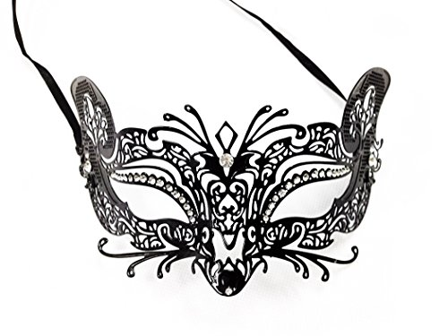 Black Metal Venetian Cat Mask