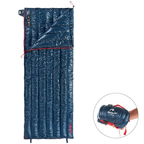 Naturehike Ultralight Goose Down Sleeping Bag - 800 Fill Power Ultra Compact - Best Down-Filled Lightweight Envelope Sleep Bags for Backpacking Hiking Camping (Dark Blue) ()
