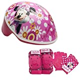 Disney Girls Minnie Mouse Toddler Skate/Bike Helmet Pads & Gloves - 7 Piece Set