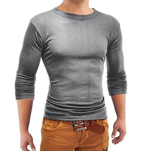 Herren Basic Longsleeve / Pullover ID1165 , Farben:Grau;Größe Pullover:M