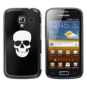 LECELL--Funda protectora / Cubierta / Piel For Samsung Galaxy Ace 2 I8160 Ace II X S7560M -- White Black Flag Pirate Skull Death --