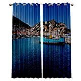 """lovely seaside patio decor ideas  Blackout Window Curtain Panels - 2 Panels Thermal Curtain Drapes Insulated Window Treatments for Bedroom Living Room Kitchen,Seaside Town Landscape 52"""" x 63"""""""