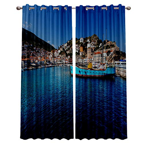 """Blackout Window Curtain Panels - 2 Panels Thermal Curtain Drapes Insulated Window Treatments for Bedroom Living Room Kitchen,Seaside Town Landscape 52"""" x 63"""""""