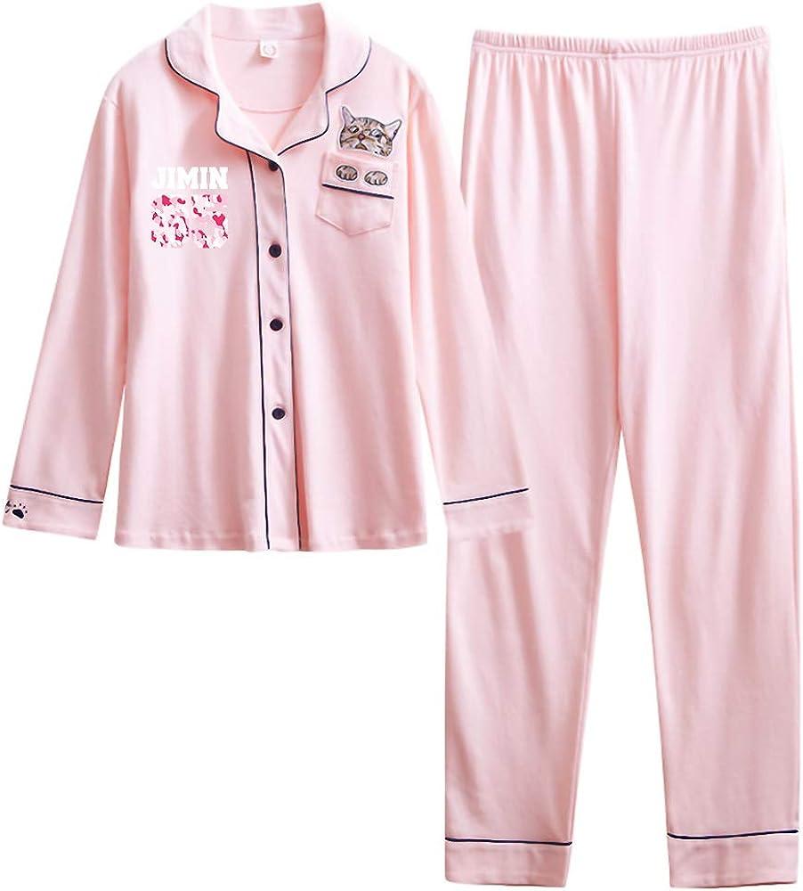 BTS Ropa de Salón Pijamas 2 Piezas Puro Algodón Mujer Conjunto de ...