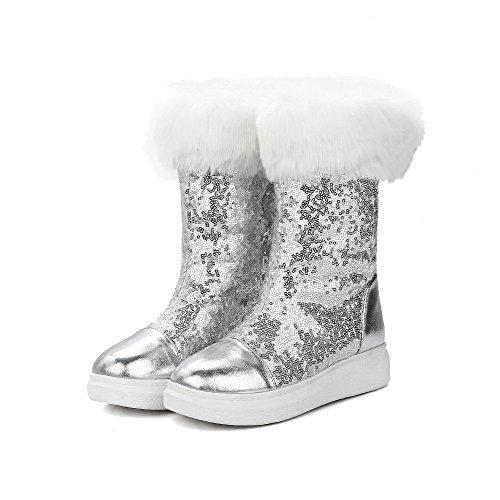 AllhqFashion Damen Ziehen auf Rund Zehe Niedriger Absatz Niedrig-Spitze Stiefel Silber